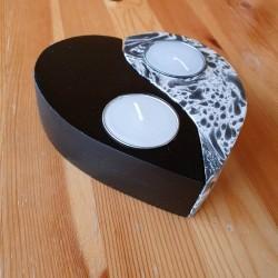 Wooden Heart Yin Yang Candle Holder
