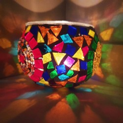 Coloured Glass Candle Holder - Hand-Crafted in Turkey