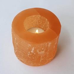 Orange Selenite Cylinder Candle Holder