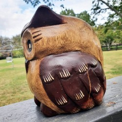 Fat Owl Power Animal Statue - Hand carved