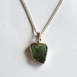 Moldavite Pendant in Sterling Silver