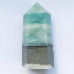 Blue Carribean Calcite Obelisk - 13cm