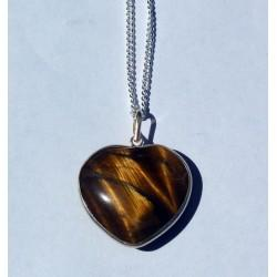 Heart Shaped Tiger's Eye in Sterling Silver
