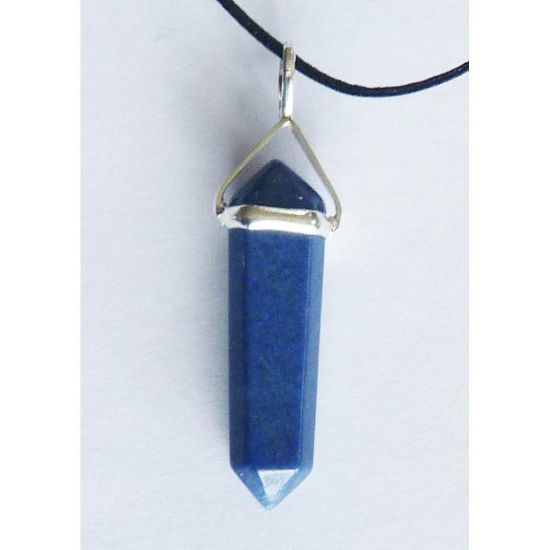 Lapis Lazuli Double Terminated Silver Metal Pendant.
