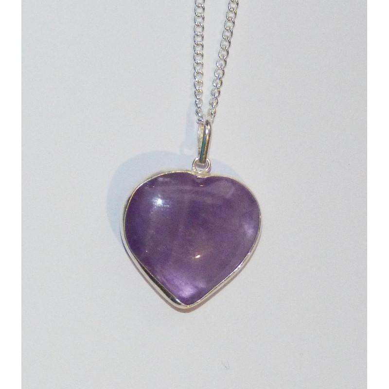 Amethyst Heart - Sterling Silver Pendant
