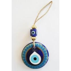 Decorated Blue Glass Wall Hanging - Large