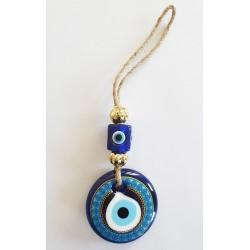 Decorated Blue Glass Wall Hanging - Small