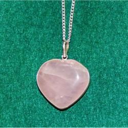 Rose Quartz Heart - Sterling Silver Pendant