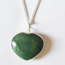 Aventurine Heart - Sterling Silver Pendant